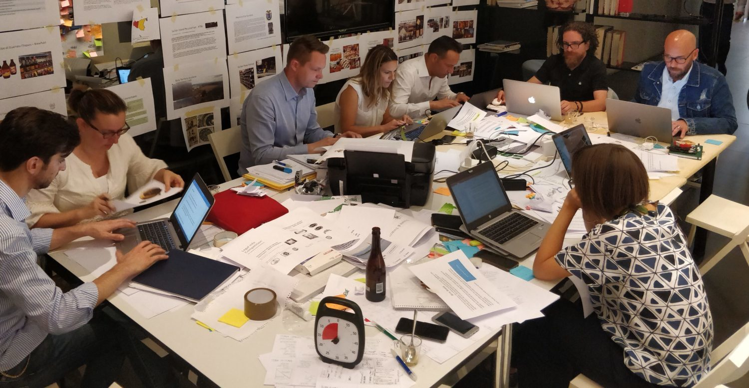 a workshop designing a food product